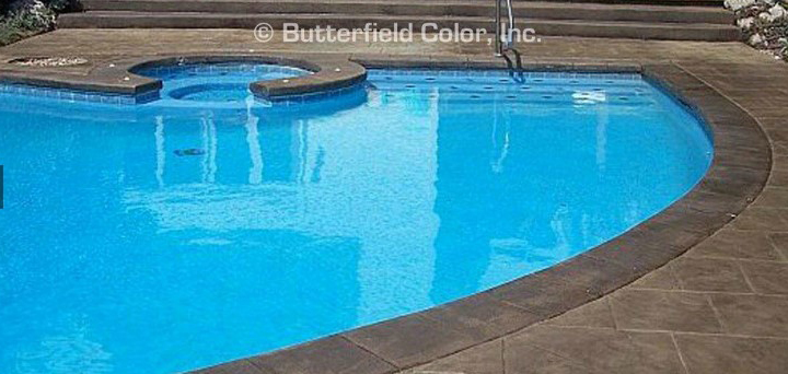 Stampable overlays can bring life back to weathered concrete surfaces and pool decks. The same color charts and release textures and colors can be used on an overlay as a conventionally stamped hardscape.